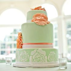 Coral and Sage Asymmetrical Cake // photo by: First Comes Love Photo //  Cake: Domestic Arts Custom Cakes