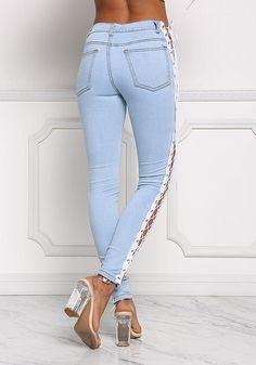 Light Denim Side Lace Up Skinny Jeans