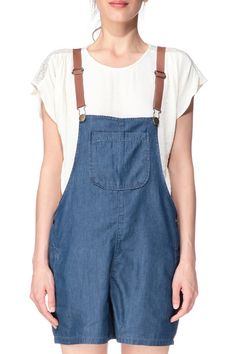 Salopette short denim Yend23 Bleu Naf Naf sur MonShowroom.com