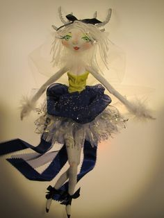 WHITE FRENCH DEER soft sculpture Ooak cloth doll by Kaeriefaerie52, $45.00