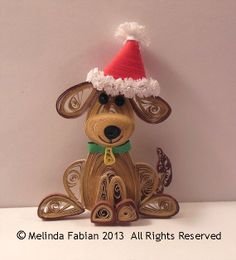 Quilled 3D Puppy Dog with Hat Ornament Quilled by MelindaFabian, $18.00