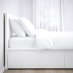 IKEA - MALM, High bed storage boxes, white, Ample storage space is hidden neatly under the bed in 4 large drawers. Perfect for storing quilts, pillows and bed linen. The storage boxes are easy to roll out and in thanks to the castors on the base. High Bed Frame, Malm Bed Frame, White Queen Bed Frame, Box Bed Frame, Bed Frame With Storage, Storage Boxes, Ikea Beds With Storage, Ikea Full Bed Frame, Tv Storage