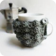 Cozy Cover Gray Coffee Cozy Mug Cozy Tea Cup cosy by KnotworkShop, $15.00