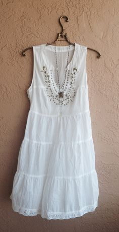 White cotton Beach dress with romantic beaded by BohoAngels, $80.00