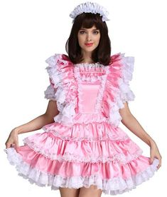 This Gocebaby pink sissy maid dress is made from high quality satin and lace materials, it's a lockable dress, and it makes you feel ultra feminine and sexy.