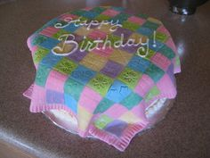Quilt Themed Cakes   birthday cake for members of a quilt club 10 round vanilla cake with ...