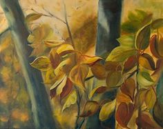 """Fall Leaves Rustling by Shelley Bauer Oil ~ 20"""" x 16"""""""