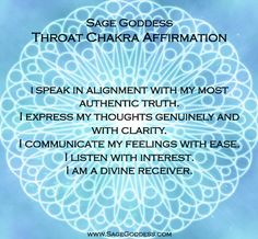 7 Days of Chakra Balancing - Day 5: THROAT CHAKRA - When doing Throat Chakra work, you should gather your blue stones (Angelite, Aquamarine, Calcite, Blue Lace Agate, etc.),a blue candle, and a communication blend (e.g., Vox). Smudge with sage, light your candle, anoint yourself with an expressive scent; then, when your mind is focused and clear, repeat the following mantra - loved and pinned by www.omved.com
