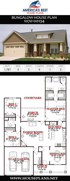 Bungalow home design complete with 3 bedrooms, 2 bathrooms, an extra nook, and split bedrooms. Bungalow Haus Design, Bungalow House Plans, House Plans 3 Bedroom, Bungalow Homes, House Floor Plans, House Design, Bungalow Bedroom, Floor Design, Best House Plans