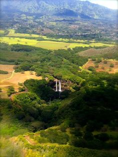 Wailua Falls, Kauai as seen from a Cessna