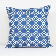 One Geometric Print Pillow Cover in Sky and White Cotton with Zipper Closure, Handmade Cotton Pillow Cover in Blue and White
