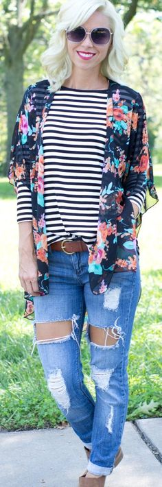 Sheer multi-color floral print 3/4 kimono style relaxed fit open front jacket…