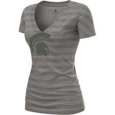 Michigan State Spartans Women's Ash Little Stripes T-Shirt