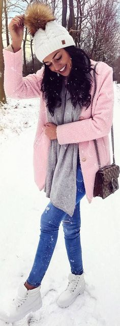 #winter #outfits pink coat, jeans, white boots, grey scarf
