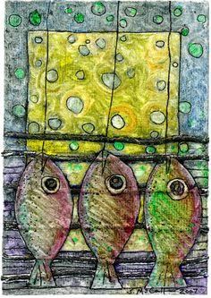 Dangling Fish Collagraph