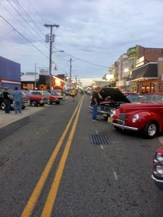 Cruise night outside Cattle and Clover during the Wildwood boardwalk classic car show in September