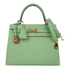 Guaranteed authentic HermesKelly Sellier 25 bagfeatured in fresh Vert Criquet. Stunning Hermes light green that... Luxury Purses, Luxury Bags, Celine, Hermes Kelly 25, Hermes Bags, Hermes Handbags, Hermes Birkin, Classic Handbags, Kelly Bag