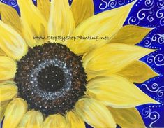 How To Paint A Sunflower - Step By Step Painting - Tutorial Simple Oil Painting, Rock Painting Ideas Easy, Rock Painting Designs, Diy Painting, Painting Canvas, Acrylic Canvas, Watercolor Paintings, Acrilic Paintings, Fence Painting