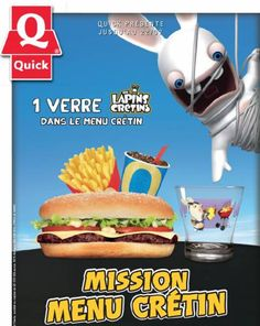 Quick menu crétin : 4 verres Lapins Crétins gratuits offerts