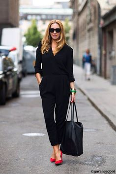Black Jumpsuit and red heels