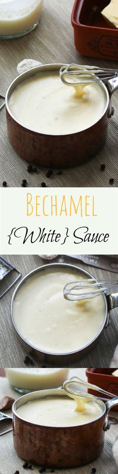 Kitchen Basics: A Simple Bechamel Sauce (White Sauce) BECHAMEL SAUCE (also known as WHITE SAUCE) – simple to make, incredibly versatile & freezes brilliantly ~ c. cheddar cheese, T. Great Recipes, Favorite Recipes, Recipes Dinner, Breakfast Recipes, Dessert Recipes, White Sauce Recipes, Chutneys, Homemade Sauce, Snacks