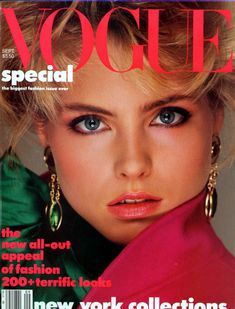 Kim Alexis covers Vogue magazine( United States) September 1984