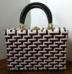 Vintage Basket Weave Vinyl Red White Blue Handbag