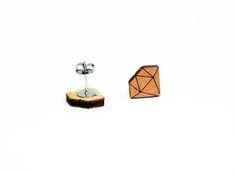 diamant oorbellen, houten oorstekers, lasergesneden oorbellen, cadeau idee voor haar, houten juwelen, brons door JolisMots op Etsy Wood Earrings, Wood Design, Fashion Brands, Om, Jewelry Design, Accessories, Vintage, Etsy, Wooden Earrings