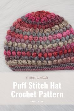 If you're looking for a crochet hat that's as pretty as it is cozy, look no further than the puff stitch hat here at B.Hooked. Thousands of people have made this hat our most popular pattern and for good reason! It's still our favorite to gift and wear ourselves. #BHooked #Crochet #FreeCrochetPattern
