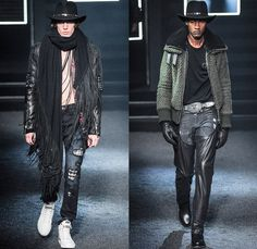 Philipp Plein 2014-2015 Fall Autumn Winter Mens Runway Looks Fashion - Milano Moda Uomo Milan Fashion Week - Camera Nazionale della Moda Italiana - Denim Jeans Destroyed Coated Cowboy Western Mink Saddles Chaps Fringes Skull Turtleneck Chunky Knit Sweater Motorcycle Biker Rider Military Coat Parka Bomber Jacket Studs Camouflage Snake Plaid