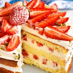 This strawberry whipped cream cake recipe has a tasty combination of flavors that make up this impressive dessert which is not only beautiful to look at, but is surprisingly easy to make.