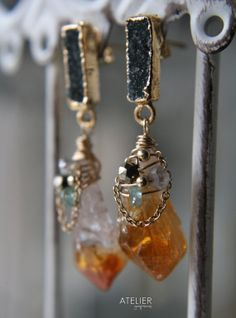 Rough Citrine & Drusy Stud Earrings by ATELIERGabyMarcos on Etsy, $115.00