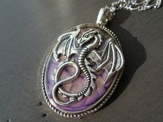 Perfect for fantasy magic roleplayer or dragon lover. Fantasy Magic, Medieval Dragon, Medieval Jewelry, Resin Coating, Dragon Pendant, Larp, Mauve, Pocket Watch, Brooch