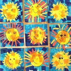 Happy kindergarten Suns to brighten your day! Tissue paper and construction paper. Summer Art Projects, School Art Projects, Summer Crafts, Kindergarten Art Lessons, Art Lessons Elementary, Kindergarten Crafts Summer, Sun Crafts, Paper Crafts, First Grade Art