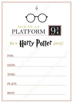 Get the magic of a Harry Potter party started with this gorgeous, printable fill-in invitation. This invitation has room for all your information as well as my original Harry Potter glasses illustration at the top. Use for all types of parties - childrens theme parties, birthdays,
