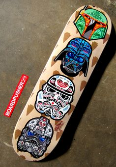 """""""POW-WOW"""", this Featured Deck designed by Heels & Zimerman, shows off some classic Star Wars helmets fashioned to fit a totem pole. Pick up this deck, or check out some other sick and eclectic skateboard graphics, at www.BoardPusher.com/shop/hzskateboards. darth vader boba fett"""