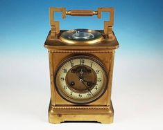 438b408b9af Antique Goldsmiths French Carriage Clock Compass Thermometer Brass Case RUNS