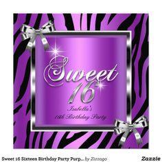 Sweet 16 Sixteen Birthday Party Purple Zebra Bow Personalized Invitation