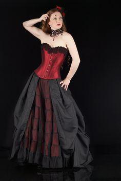 fgm-victoria Burgundy silk dupion corset with black crochet lace trim