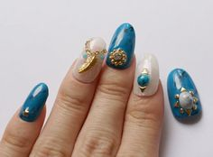 3D nails handpainted nails turquoise nails foil nails by Aya1gou