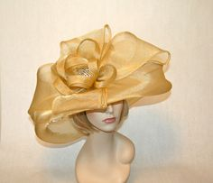 Golden Champagne Kentucky Derb Hat $189 www.stores.ebay.com/hatmillinery Click on photo to purchase in our ebay store.