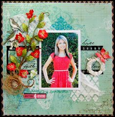 Faith, Hope and Love - Scrapbook.com- coordinate your embellishments/florals with colors in the photo to tie your layout together