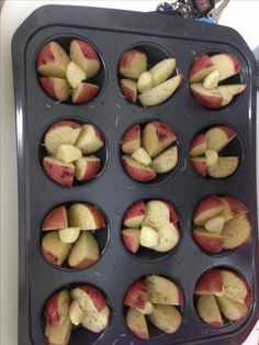 Roasted Red Potatoes. Quarter the potatoes long-wise. Toss in olive oil, salt, pepper, and rosemary. Arrange potatoes in muffin tin as shown. Add garlic clove in the middle of the potato quarters. Add half a teaspoon of olive oil on top of each garlic clove. Bake 375 for 25 minutes! Enjoy.