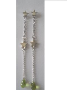 Silver stars and faceted  green Peridot drops from Crimeajewel