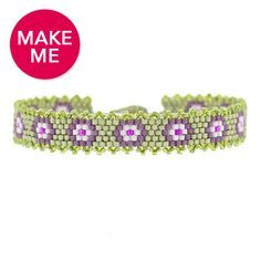 Peyote stitch bracelet free tutorial: Purple Pansies Bracelet | Fusion Beads Inspiration Gallery
