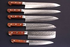 "YOSHIHIRO- Hammered Damascus Chef Knife 6PC SET - MADE IN JAPAN by YOSHIHIRO. $619.00. Knife Type: 6PC SET(gyuto24cm,21cm,sujihiki24cm,santoku18cm,usuba16cm,petite13.5cm). Handle Material: Oak. Hardness Rockwell C scale: 59. Blade: Double-Edged (50/50) / Blade Length:. Steel Type: Hammerded Damascus Cobalt. -About YOSHIHIRO- ""YOSHIHIRO"" has been designated as a one of the Best Sword Craftsman in Japan since 1550. Over 500 years of their sword making history and technique..."