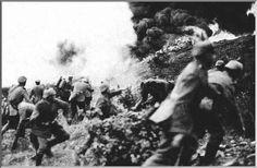 German soldiers advance at the Battle of Verdun, World War I.