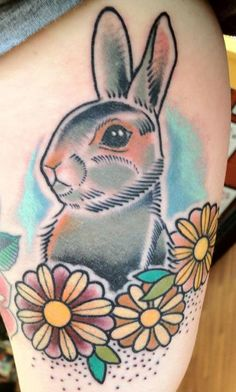 Are you looking for tattoo ideas for this Easter Day? Check out our collection of 'Easter Bunny Tattoo Ideas' below! Bunny Tattoos, Rabbit Tattoos, Animal Tattoos, Flower Tattoos, Vegan Tattoo, Tattoos For Guys, Cool Tattoos, Tatoos, Hase Tattoos
