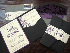 purple & gray/charcoal wedding invitations. via lovepaperpaint.com