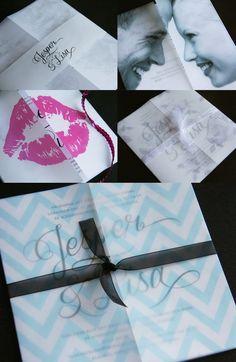 Ett enkelt inbjudningskort bröllop, bröllopsinbjudan med transparent omslag. Omslaget kan fås med valfritt tryck. Pappersboden Anna Göran Design